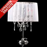 Lampe de chevet baroque blanche à pampilles chandelier 4 branches Lampe de table Lampe à poser blanc COSY