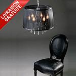 Suspension baroque à pampilles noire Lustre chandelier 5 branches noir COSY